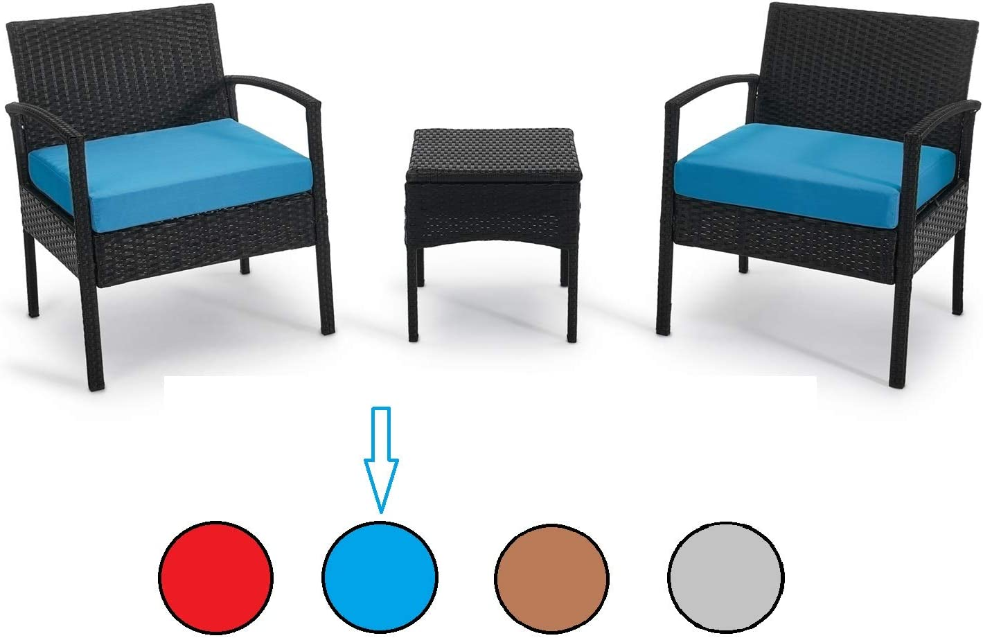 PROHIKER 3 PCS Patio Rattan Conversation Chair Set, 3 PCS Patio Wicker Rattan Furniture Set, Patio Wicker Rattan Table