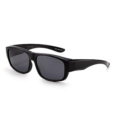 JIM HALO Retro Polarisiert Magnetisch Sonnenbrille Clip auf TR Brille Rahmen Damen Herren(Matt-schwarz/Grau) CRhc1bAU