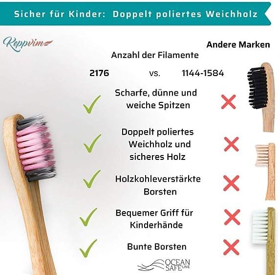 4 cepillos de dientes de bambú para niños - cerdas de carbón ultra ...