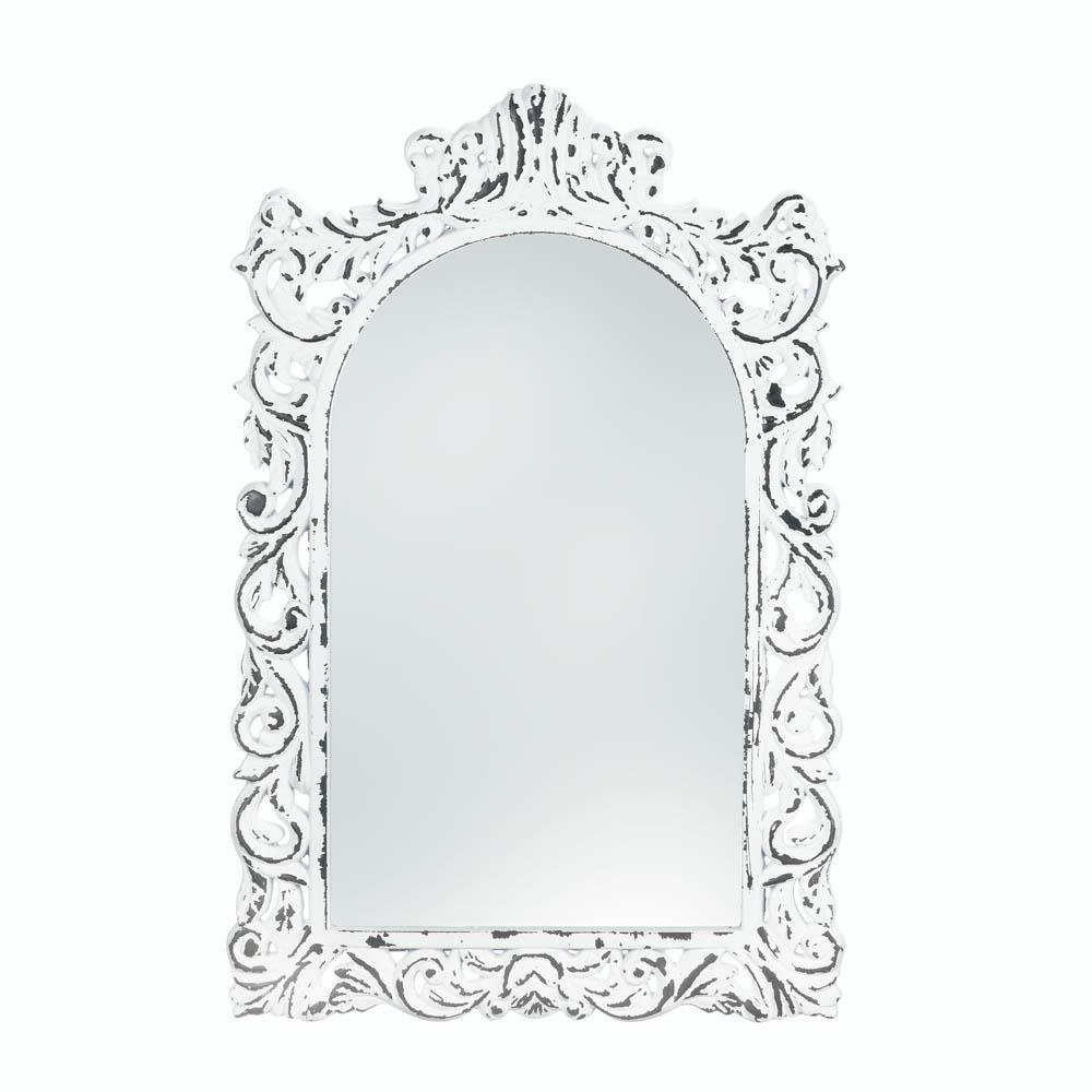 Accent Plus Wall Mirrors, Antique Girls Bedroom Decorative Etched White Ornate Wall Mirror
