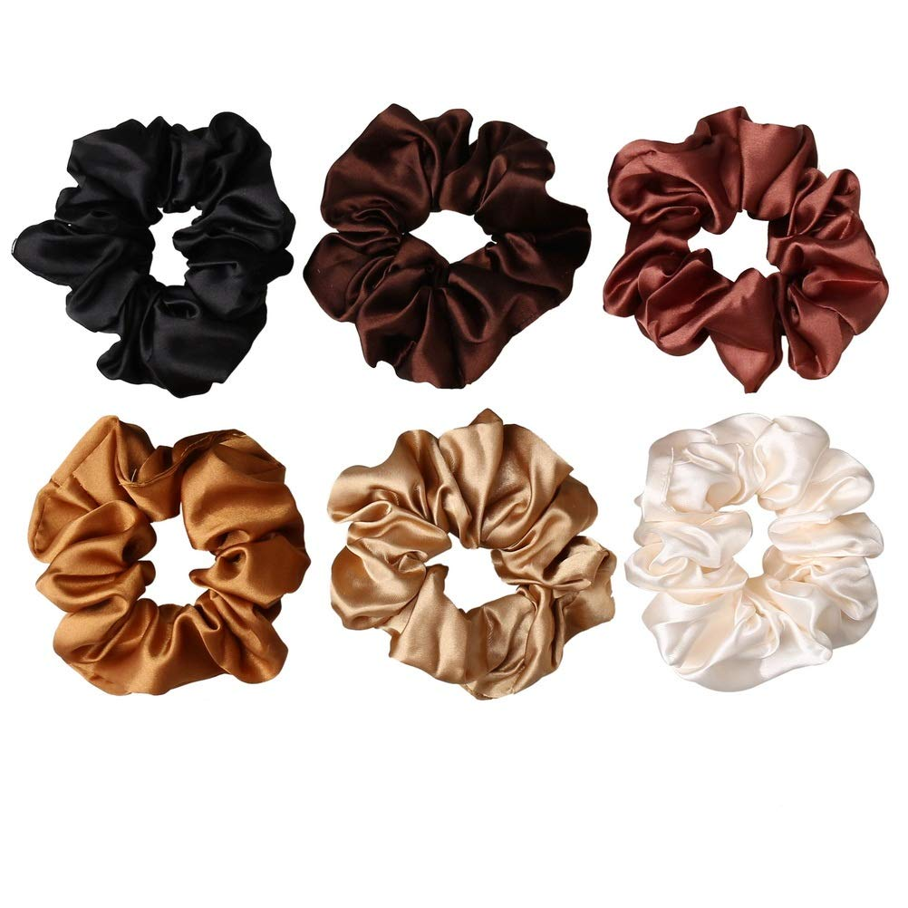 nuoshen 6 Pieces Hair Scrunchies, Satin Elastic Soft Hair Ties Scrunchy Hair Bands for Girls and Ladies