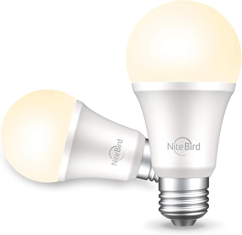 NiteBird Smart Light Bulb Works with Alexa Echo, Google Home and Siri, Dimmable LED Light Bulbs 800 Lumen Warm White A19 E26 2700K WiFi Light Bulbs,No Hub Required, 8W (75W Equivalent),2 Pack