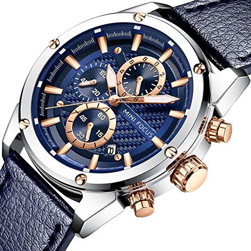 Men Business Watches, MF MINI FOCUS Quartz Wrist Watch (Fashion, Blue, Casual), Design Leather Band Strap Wristwatchs for Men Gift