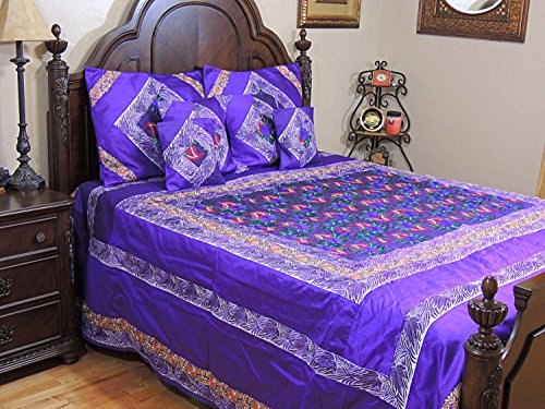 Luxurious Purple Parsi Embroidery Duvet Cover Set - Beautiful Quilted Dupioni Bedspread with Pillow Shams and Cushion Covers ~ King Size - Use as Duvet - a full length zipper runs along the back