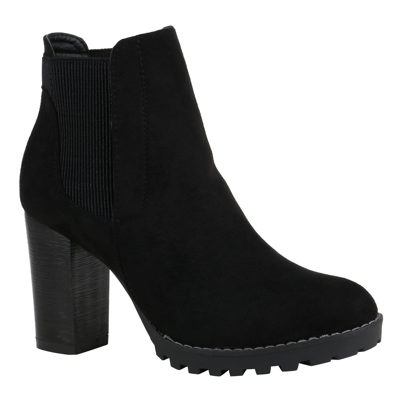 Stiefelparadies Damen Stiefeletten High Heels mit Blockabsatz Profilsohle Flandell Schwarz Velours