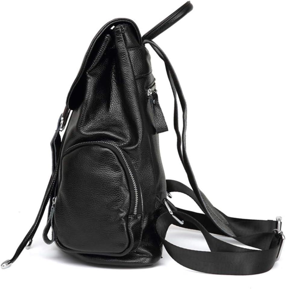 Color : Black European and American Fashion Backpack Bag Large Capacity Handbag