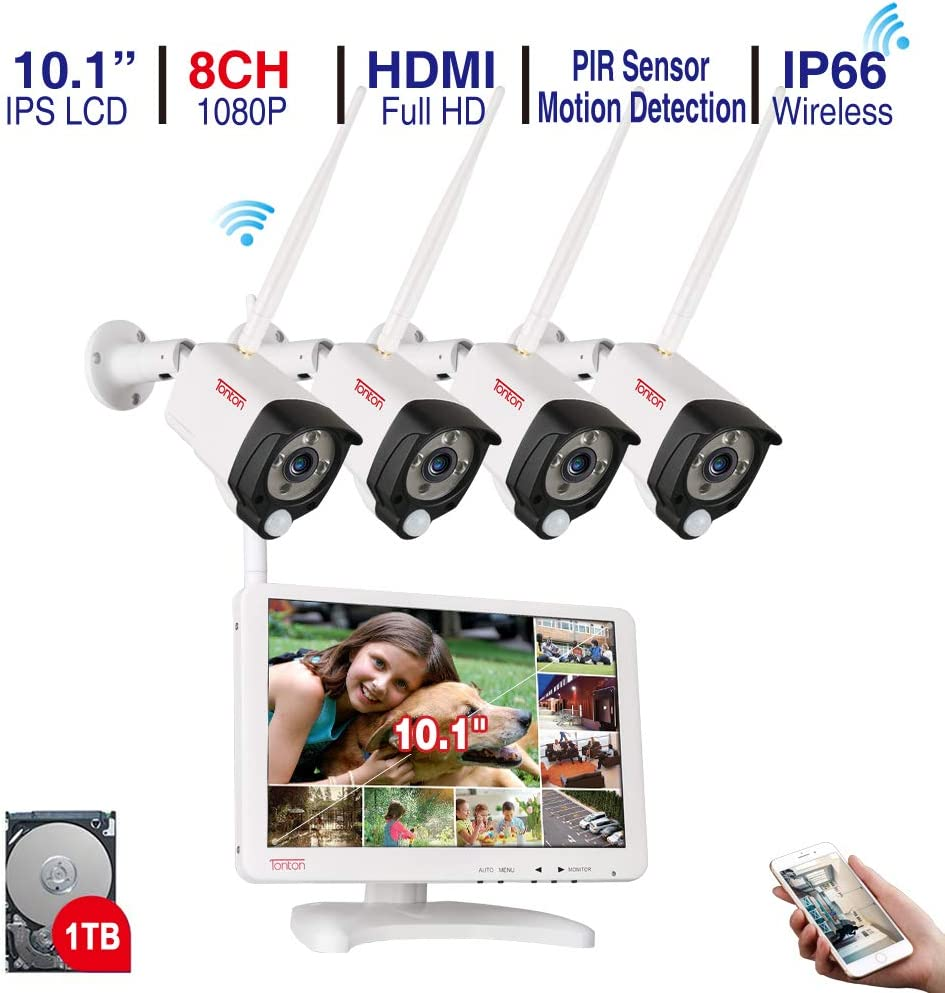 【Audio Recording&PIR Sensor】 Tonton All-in-One Home Security Camera System,1080P 8CH Expandable Wireless NVR with 10.1