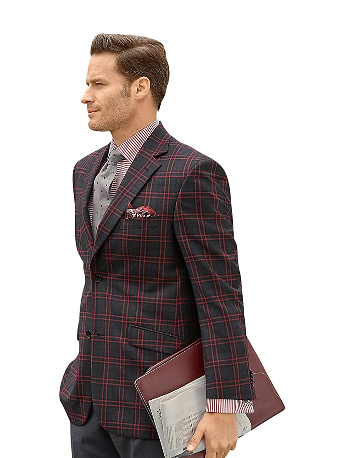 1960s Men's Clothing, 70s Men's Fashion Paul Fredrick Mens Wool Plaid Sport Coat $229.98 AT vintagedancer.com