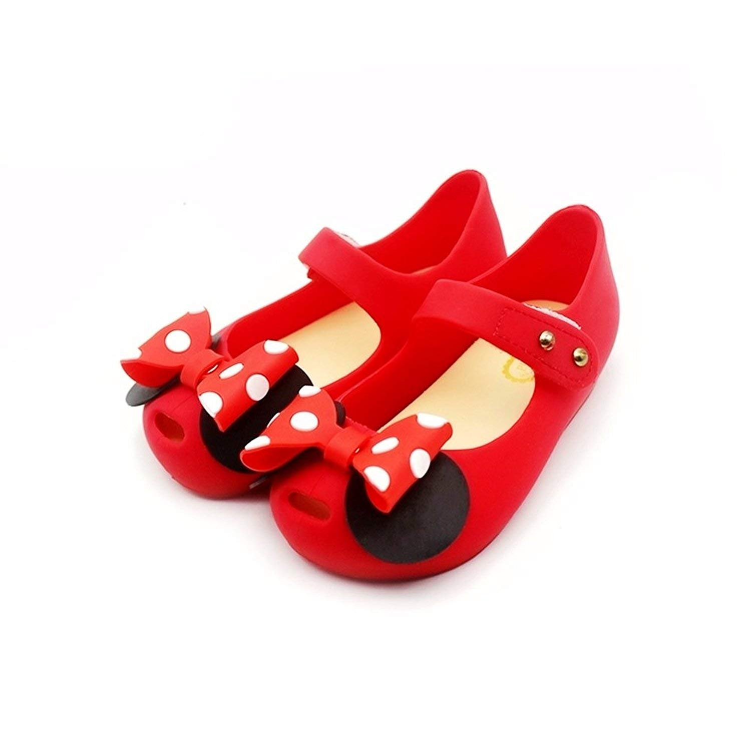 Tandefly Toddler Girls Mary Jane Flat Shoes White Dots Kid's Sandals A Bow Tie MQ00369