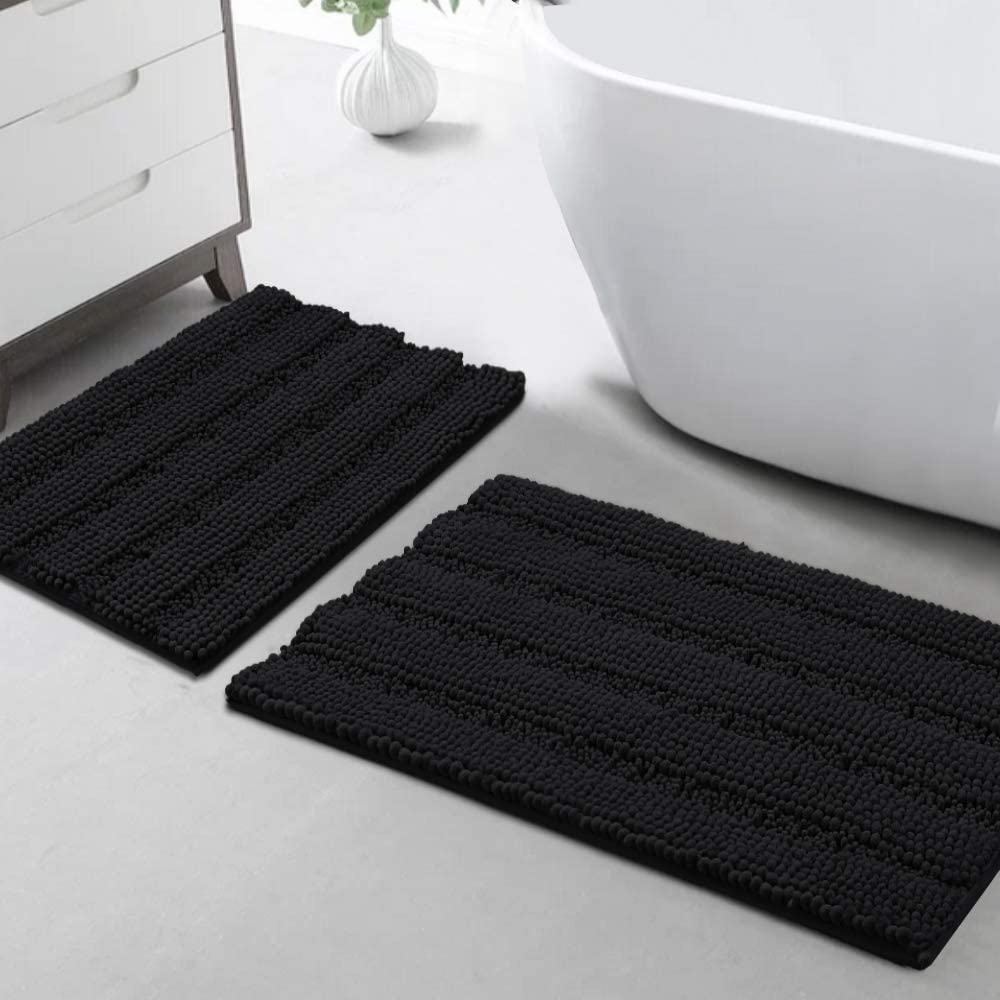 "Turquoize Non Slip Shaggy Bathroom Rugs Black Bath Rugs for Bathroom Chenille Bath Rugs for Bathroom Sets 2 Piece Bath Mat Set Super Absorbent Shower Rug for Tub Mats, 20""x 32""& 17"" x 24"",Black"