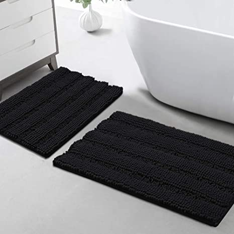 Amazon Com Turquoize Non Slip Shaggy Bathroom Rugs Black Bath Rugs For Bathroom Chenille Bath Rugs For Bathroom Sets 2 Piece Bath Mat Set Super Absorbent Shower Rug For Tub Mats 20 X 32