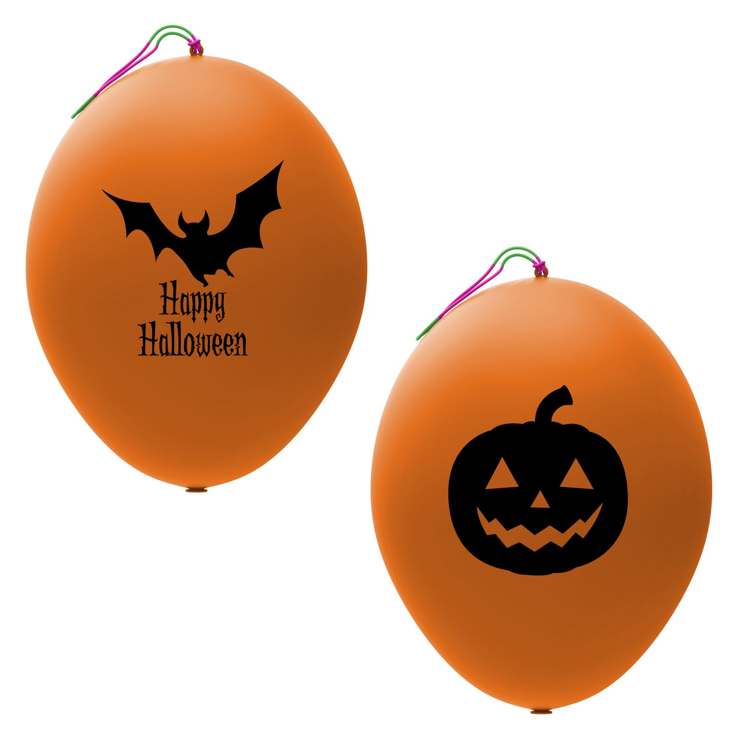 24 Orange Halloween Punch Balloons | Best for Party Favors | Gift Bags | Trick or Treat Prizes | 12 Each of Bat and Jack O Lantern Designs | Extra Large, Eco Friendly Latex Punch Balls for Kids John & Judy