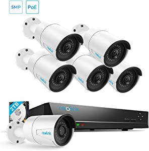 Security Camera System PoE 4K 8 Channel NVR Kit, with 6pcs Bullet 5MP PoE Cameras, 2TB Hard Drive Included for 24/7 Surveillance Home Security, RLK8-410B6-5MP