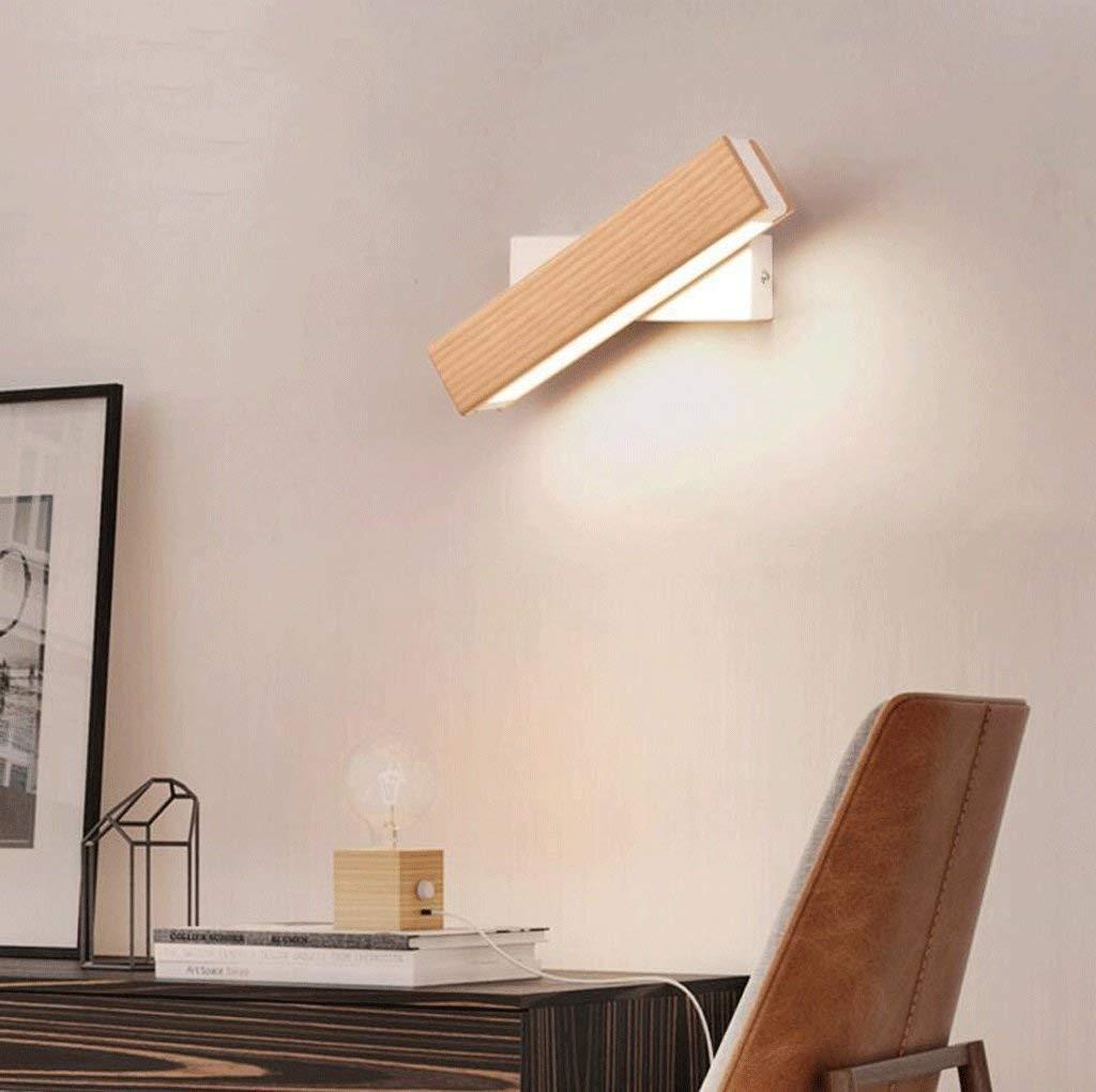 FuweiEncore Die Schlafzimmer-Wand-Nachttischlampen-Lampe Massivholz-Weg ist EIN einfaches, modernes und kreatives Drehen der geführten Hellen Leselampe (Farbe  B-P) (Farbe   B-l)