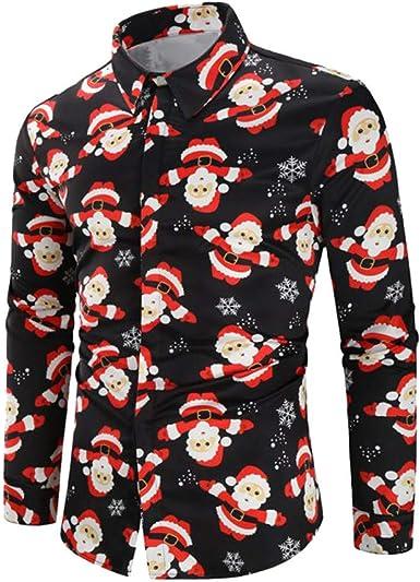 Lenfesh Negro Hombres Casual Caballero Elegante Solapa Papá Noel Copo de Nieve Caramelo Impreso Botón de Manga Larga Camisa de Navidad Top Blusa Cárdigan: Amazon.es: Ropa y accesorios