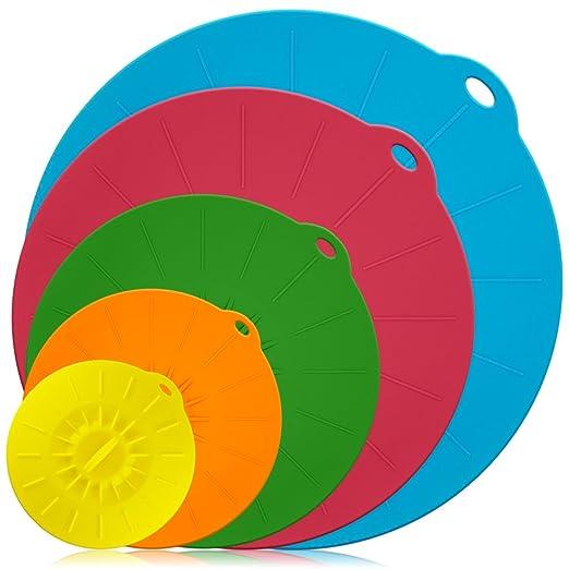 Cubiertas para tazones de silicona Juego de 5, Cubiertas reutilizables para sellos de succión DLAND para cuencos, ollas, tazas y cubiertas para ...