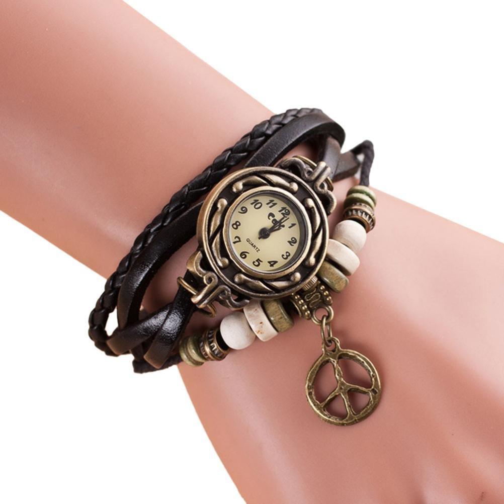Amazon.com: Lookatool® Lady Womens Peace Symbol Quartz Weave Around Leather Bracelet Wrist Watch (Black): Health & Personal Care