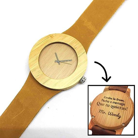 Reloj de Madera Personalizado para Mujer con Grabado Láser de Texto, Mensaje o Dedicatoria Atrás. Reloj ...