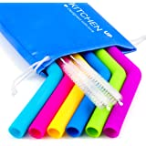 Big Silicone Straws for 30 oz Tumbler Yeti/Rtic - Reusable Silicone Straws for Smoothie/Shakes - Reusable Straws Set of 6 + 2 Brushes + 1 Blue Pouch - Reusable Drinking Straws
