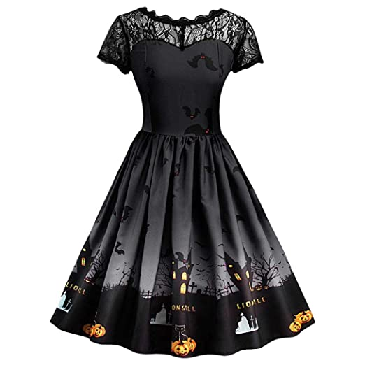 Women Halloween Party Dress Lace Short Sleeve Vintage Gown Pleated