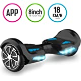 TOMOLOO Hoverboard Self-Balancing Scooter with Bluetooth Speaker and Lights - Black Hover Board with App UL2272 Certified for 265 lbs MAX Weight…