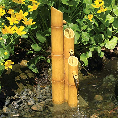 (Aquascape Pouring Three-Tier Bamboo Fountain Fountain for Ponds and Water Gardens, Poly-Resin | 78307)
