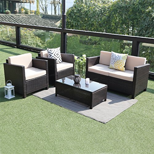 5 Piece Outdoor Patio Furniture Set,Wisteria Lane Sectional Conversation Set Wicker Sectional Sofa Garden Lawn Chair with Coffe Table,Brown (Wicker Sale Furniture)