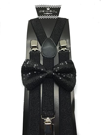 816322944b8 Image Unavailable. Image not available for. Color  Black Color Mens   Women  Wedding Accessories Sequin Adjustable Bow Tie   Glitter Suspenders