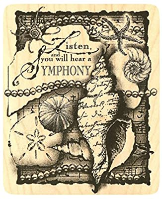 "{Single Count} Unique & Custom (4"" by 5"" Inches) Listen Symphony Conch Seashell Beach Nautical Collage Rectangle Shaped Genuine Wood Mounted Rubber Inking Stamp"
