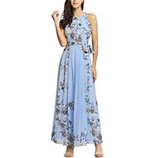 Melissa Summer Halter Maxi Dress Women Chiffon Strapless Floral Print Dress Pleated Long Party Boho Belt
