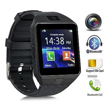 Bluetooth Reloj Inteligente, DXABLE SmartWatch con cámara, pantalla táctil desbloqueada Reloj celular con ranura