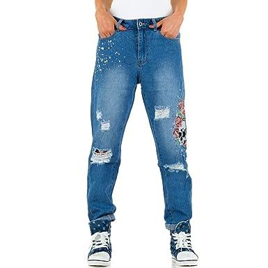 ae0739cb09d4 Schuhcity24 Damen Jeans Hose Jeanshose Damenjeans Bestickte Boyfriend   Amazon.de  Bekleidung