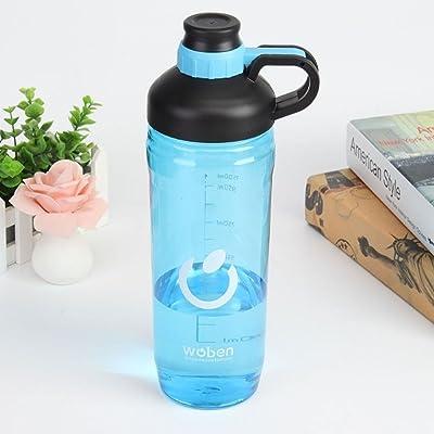 1500 ml Grande capacité de mesure anti-fuite Portable Sport bouteilles d'eau en plastique +ing