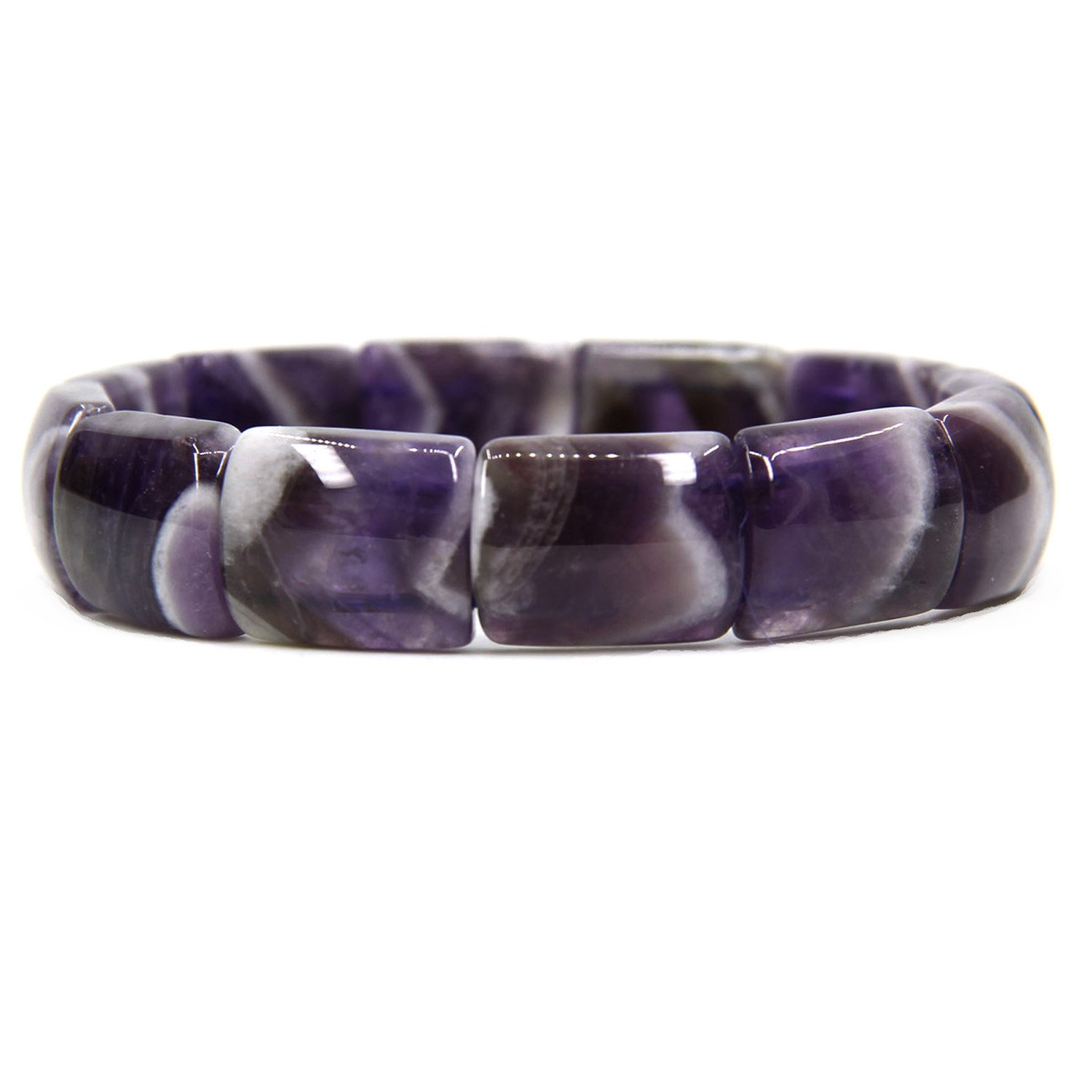 Amandastone Genuine Semi Precious Gemstone 15mm Square Grain Faceted Beaded Stretchable Bracelet 7
