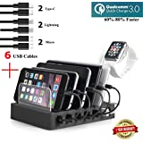 Fastest Charging Station with 6 USB Cables, QC 3.0,Type C,iWatch Holder,COSOOS 6-Port USB Quick Charging Stand,Docking Station Organizer Hub for iPhone,iPad,iWatch,Apple,Samsung,Tablets,Kindle,Speaker
