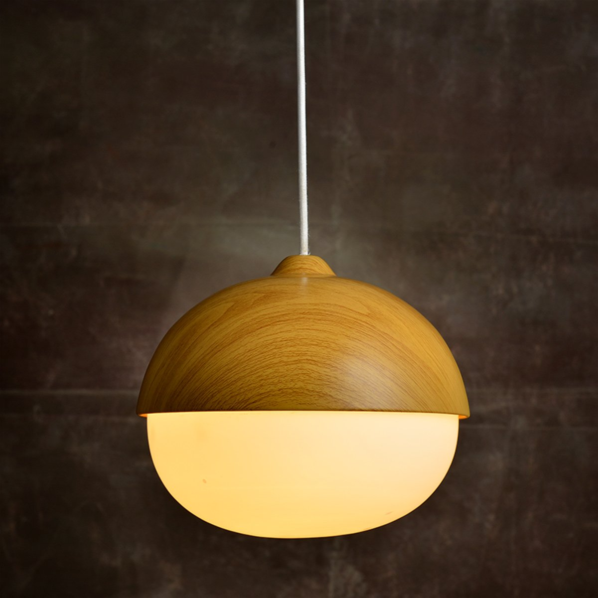 MASO Home, The Modern Elegance Style of Pendant Hanging Lamps, Natural Wood Color Based with Glass Shade Pendant Ceiling Light, Retro Industrial Lamp Vintage Unique Design (Chestnut Shape)