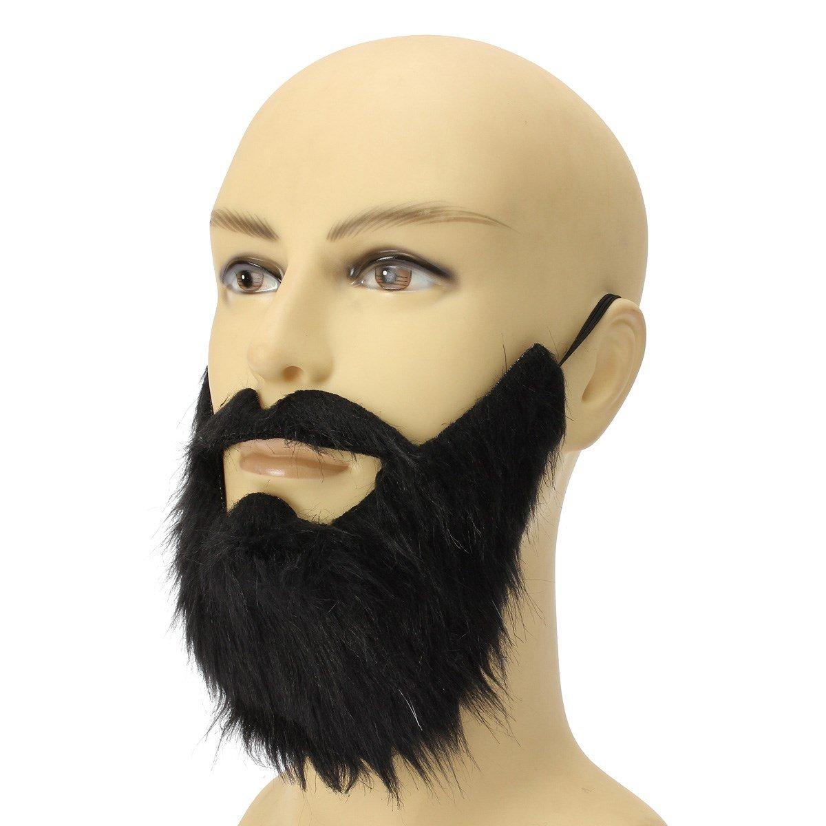 Yalulu Schwarz Bushy Falschen Bart, Karneval Fasching Halloween Falscher Bart Schurrbart Mustache