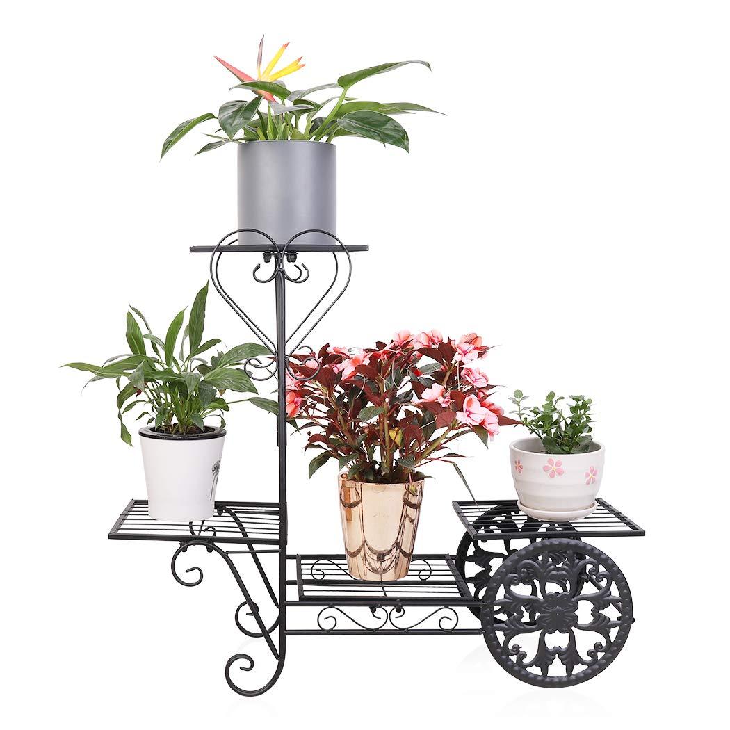 UNHO Estanter/ía para Plantas de Metal Soporte de Flores con 4 Niveles Estanter/ía Decorativa para Macetas Exterior Interior Jard/ín Color Negro