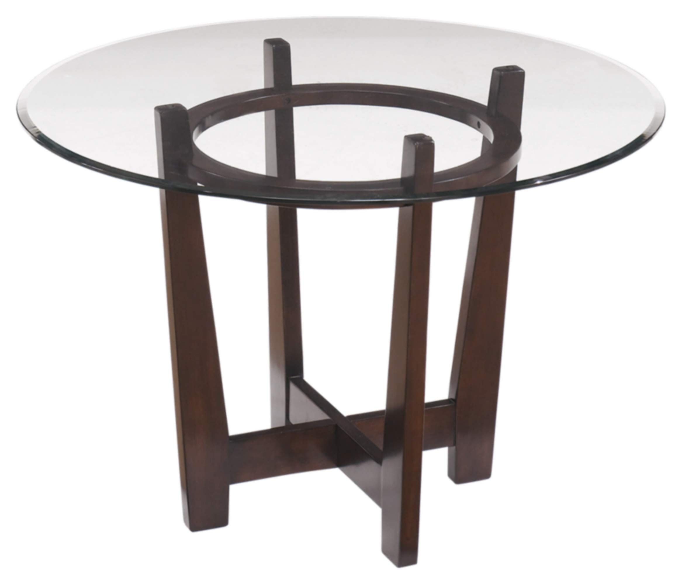 Ashley Furniture Signature Design - Charrell Dining Room Table - Glass Top - Round - Medium Brown by Signature Design by Ashley
