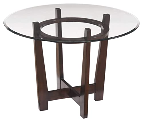 Signature Design By Ashley – Charrell Dining Room Table – Glass Top – Round – Medium Brown
