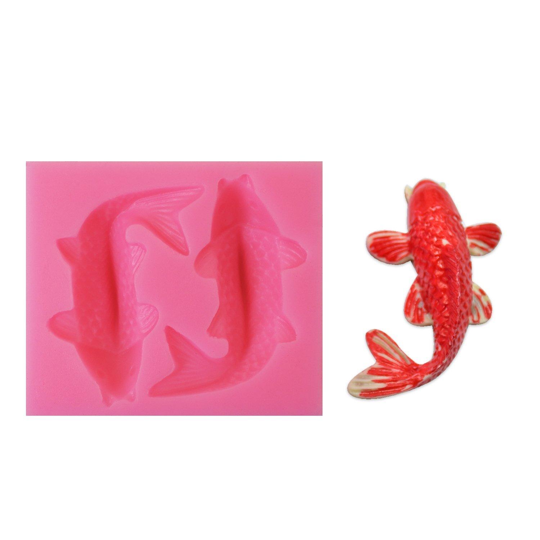 Fish Mold, Chokov 2-cavity Silicone Koi Fish Molds Goldfish Fondant Cake Decorating Mold Home Kitchen Baking Sculpting & Modeling Tools Pink