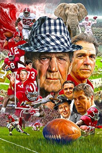 Signed University of Alabama Football Crimson Tide Fine Art Print Poster 11x17 Paul Bear Bryant Nick Saban Joe Namath Bart Starr College Football Bama Legends     (Paul Bear Bryant Pictures)