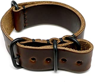 product image for DaLuca Military Watch Strap - Brown Chromexcel (PVD Buckle) : 26mm