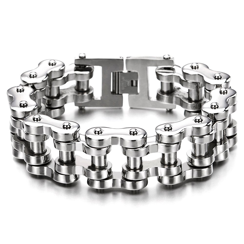 COOLSTEELANDBEYOND Men Heavy Sturdy Bike Chain Motorcycle Chain Bracelet of Stainless Steel, Silver Color High Polished Silver Color Polished MB-1170