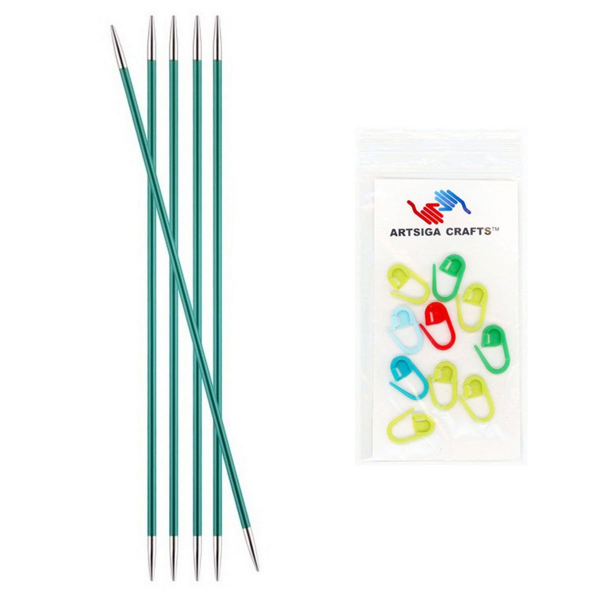 Size US 1 Knitters Pride Zing Double Pointed Knitting Needles 6in 2.25mm Bundle with 10 Artsiga Crafts Stitch Markers 140002