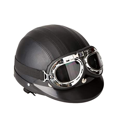 DTVX Moto Casco Scooter semiaperto in Pelle e Parasole Protezione UV Occhiali Retro Stile Vintage 54-62 cm,Black