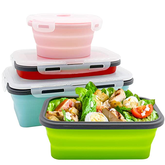 Potinv Collapsible Lunch Box, Silicone Food Storage Containers with Lid for  Lunch, Leftovers, Salad - Microwave, Dishwasher and Freezer Safe(4pcs)
