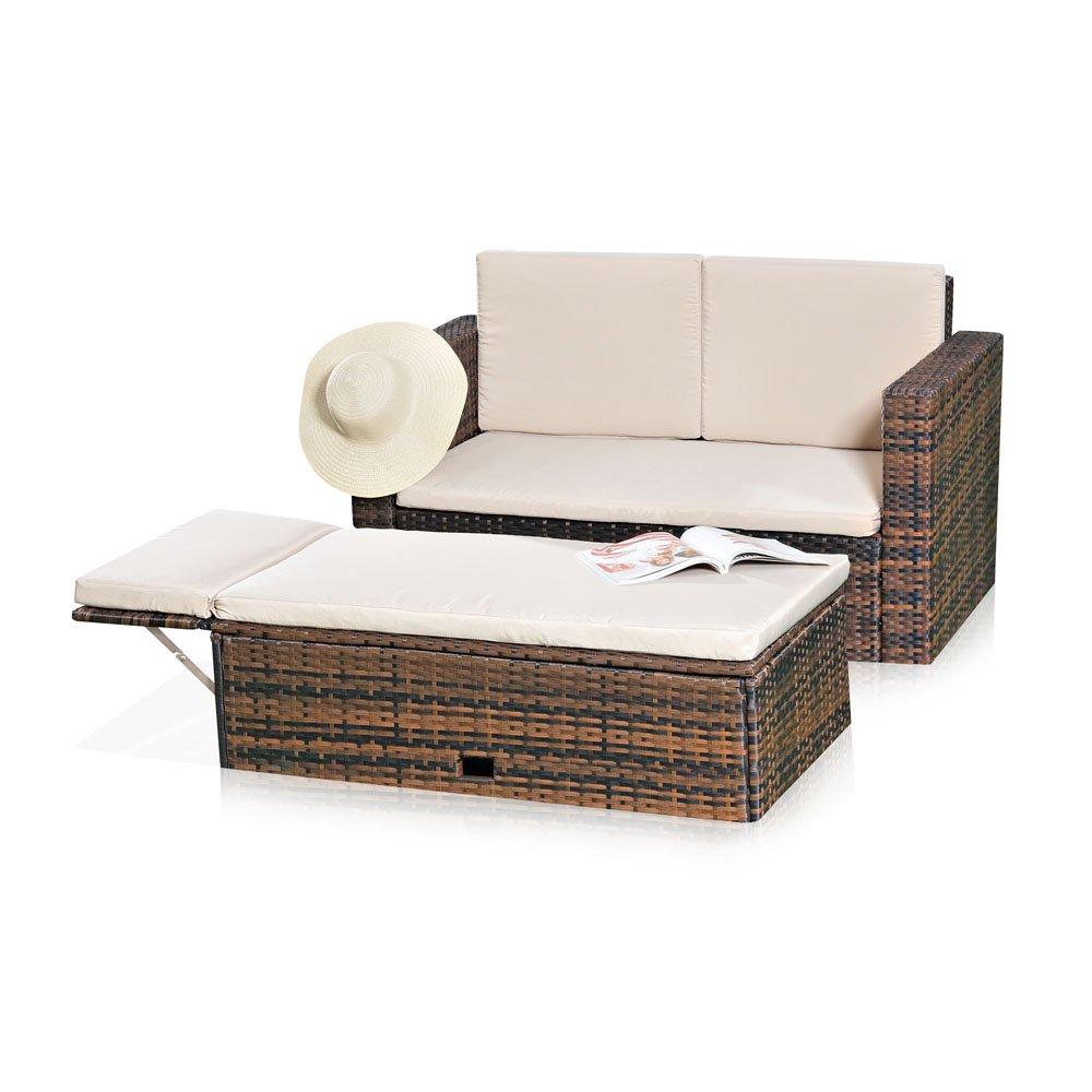 Gartenmöbel Lounge Sofa Mit Klappbarer Bank Tisch In Braun Aus