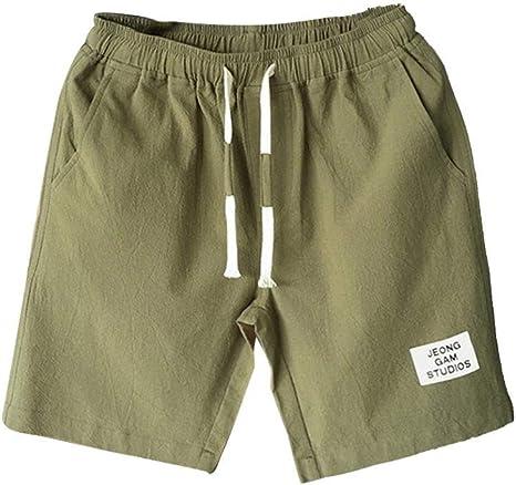 Pandaie Mens Pants Shorts New-Men Casual Boardshorts Pure Color Loose Belt Drawstring Beach Sports Shorts Pants