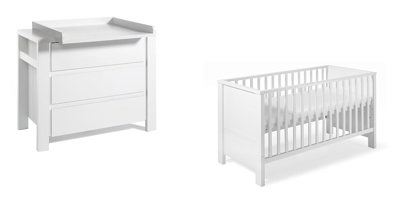 Schardt 10 650 52 02 - Sparset Milano weiß bestehend aus Kombi-Kinderbett, Umbauseiten und Wickelkommode mit Wickelaufsatz
